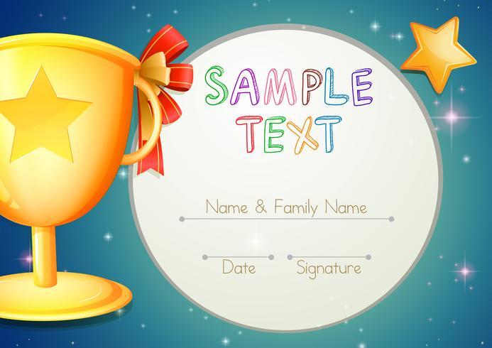 Certifieringsmall med stjärnor och trofé vektor