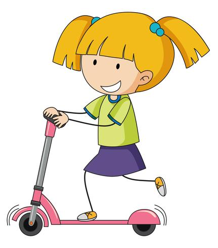 doodle girl playing kick scooter