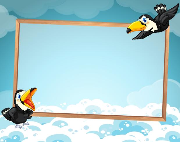 Ontwerp van de grens met twee toekans vliegen