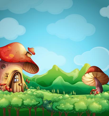 Scène avec la maison aux champignons dans le champ
