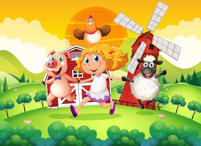Escena de la granja con la niña y los animales.