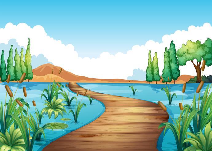 Escena de la naturaleza con puente sobre el río