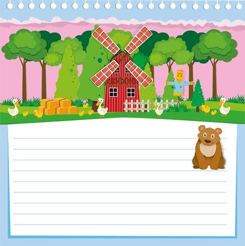 Disegno di carta con orso e fattoria