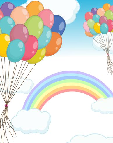 Cena de fundo com balões no céu