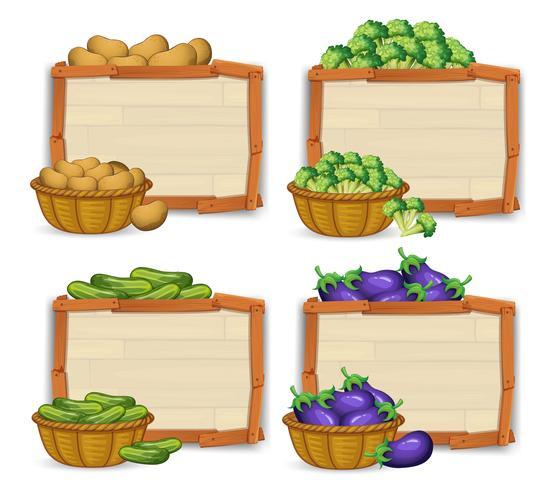 Ensemble de bannière en bois et de légumes