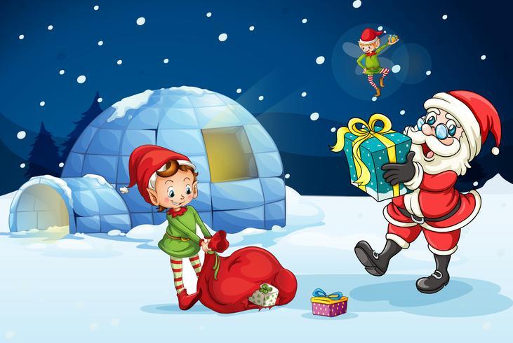 Père Noël et les enfants vecteur