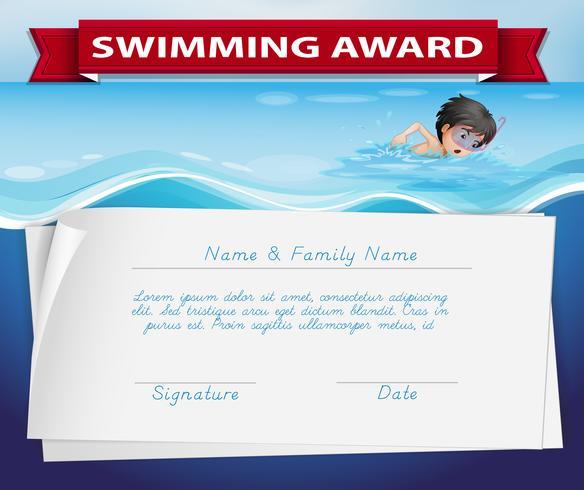 Modelo de certificado para prêmio de natação