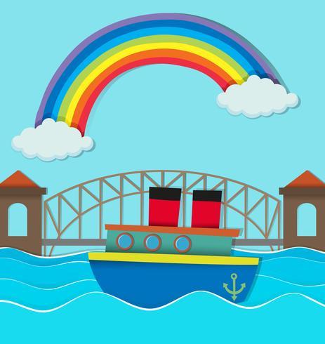Brug over de rivier en boot op water