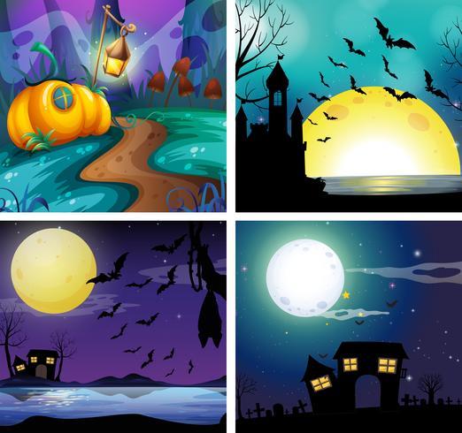 Cuatro escenas nocturnas con luna llena.