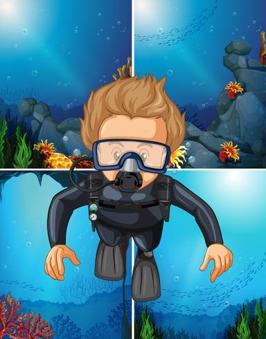 Man dykning under vatten och havsbakgrunder vektor