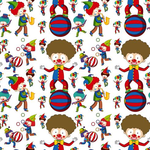 Circus clown på sömlöst mönster