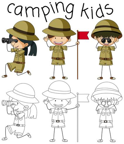 Doodle afbeelding van camping kinderen
