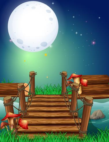 Scene with fullmoon at night