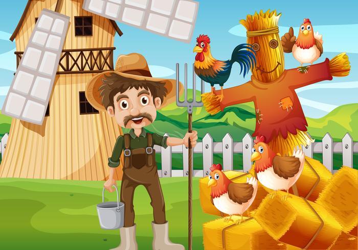 Agricultor e galinhas no campo