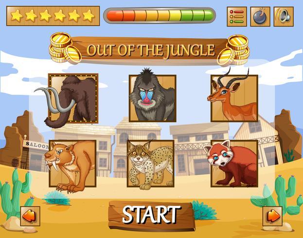 Spielvorlage mit wilden Tieren als Charaktere