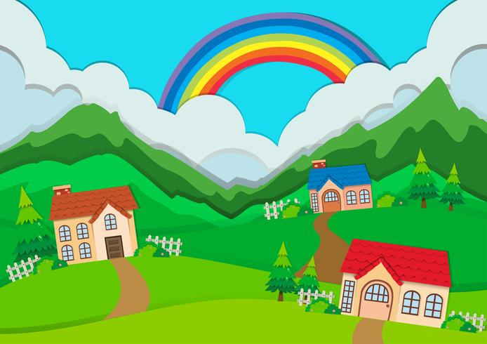 Landschaftsszene mit Häusern auf Hügeln