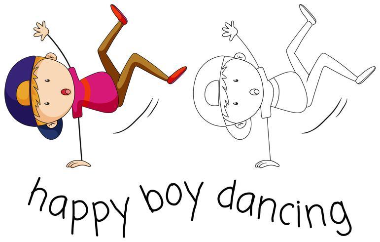 Doodle boy character dancing