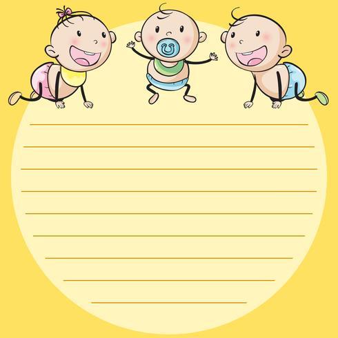Plantilla de línea de papel con tres bebés.