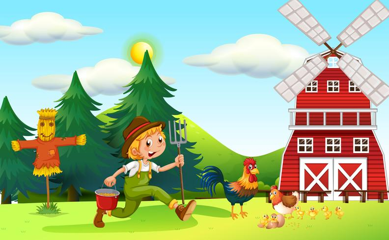 Escena con granjero y molino de viento.