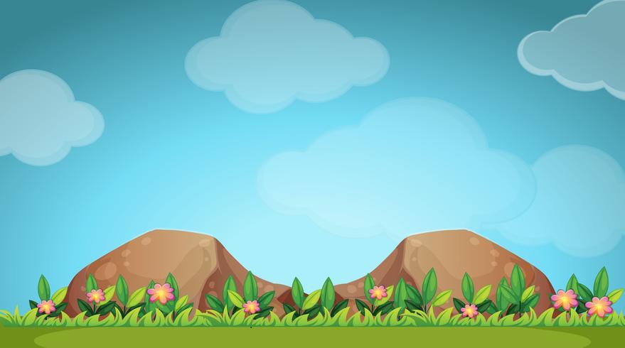 Scena della natura con fiori e campo