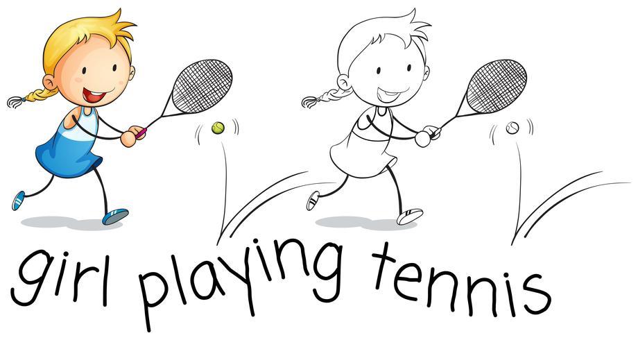 Ragazza felice che gioca a tennis