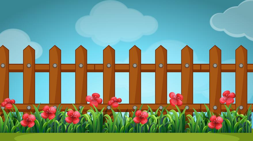 Scene with wooden fence in the garden
