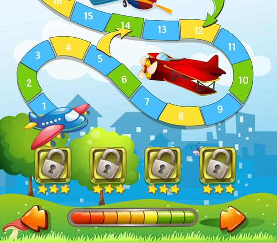 Plantilla de juego con fondo de avión