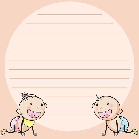 Linjepapper mall med två spädbarn