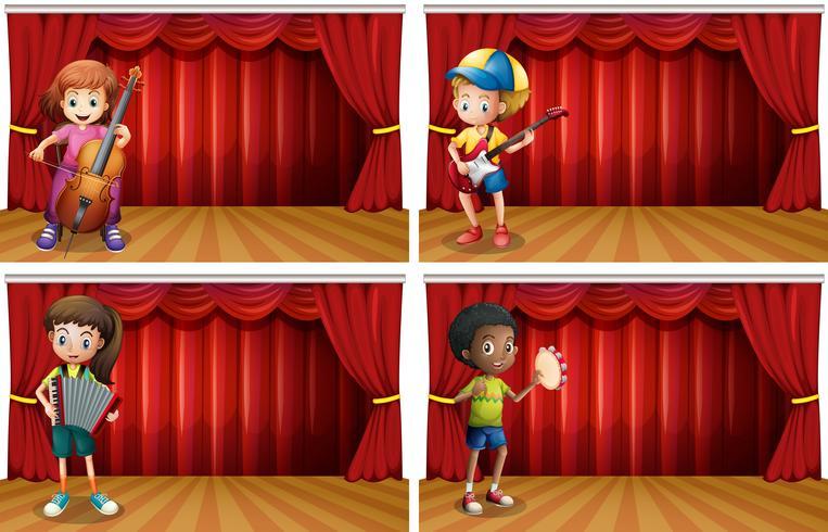 Kinderen die verschillend muziekinstrument spelen