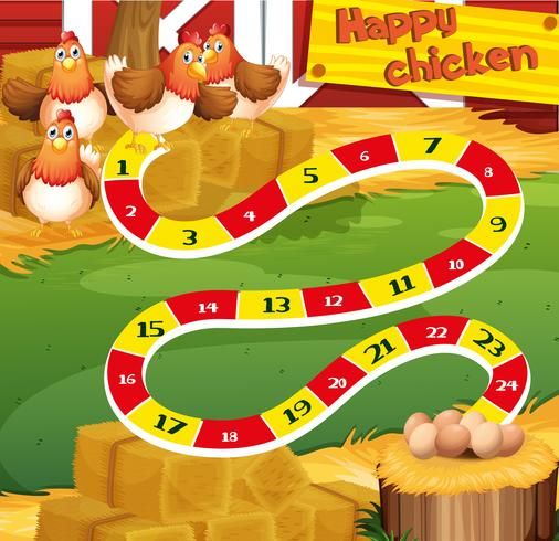 Boardgame template with chicken in the farm