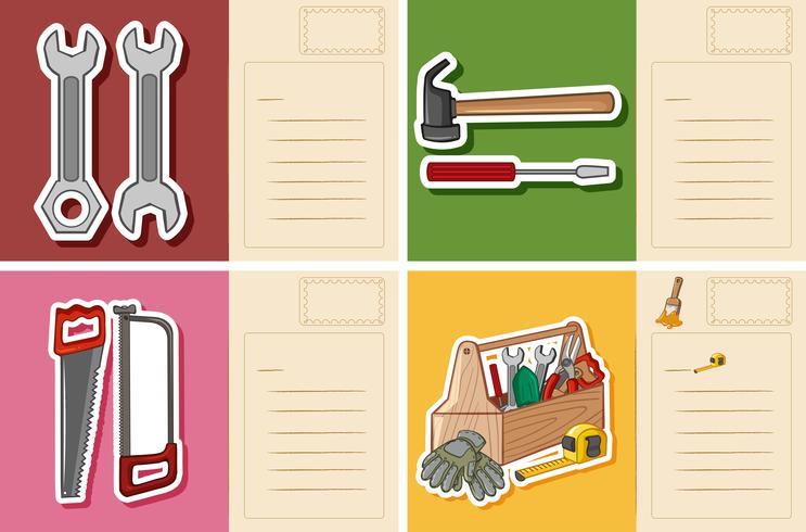 Vykortmall med olika verktyg