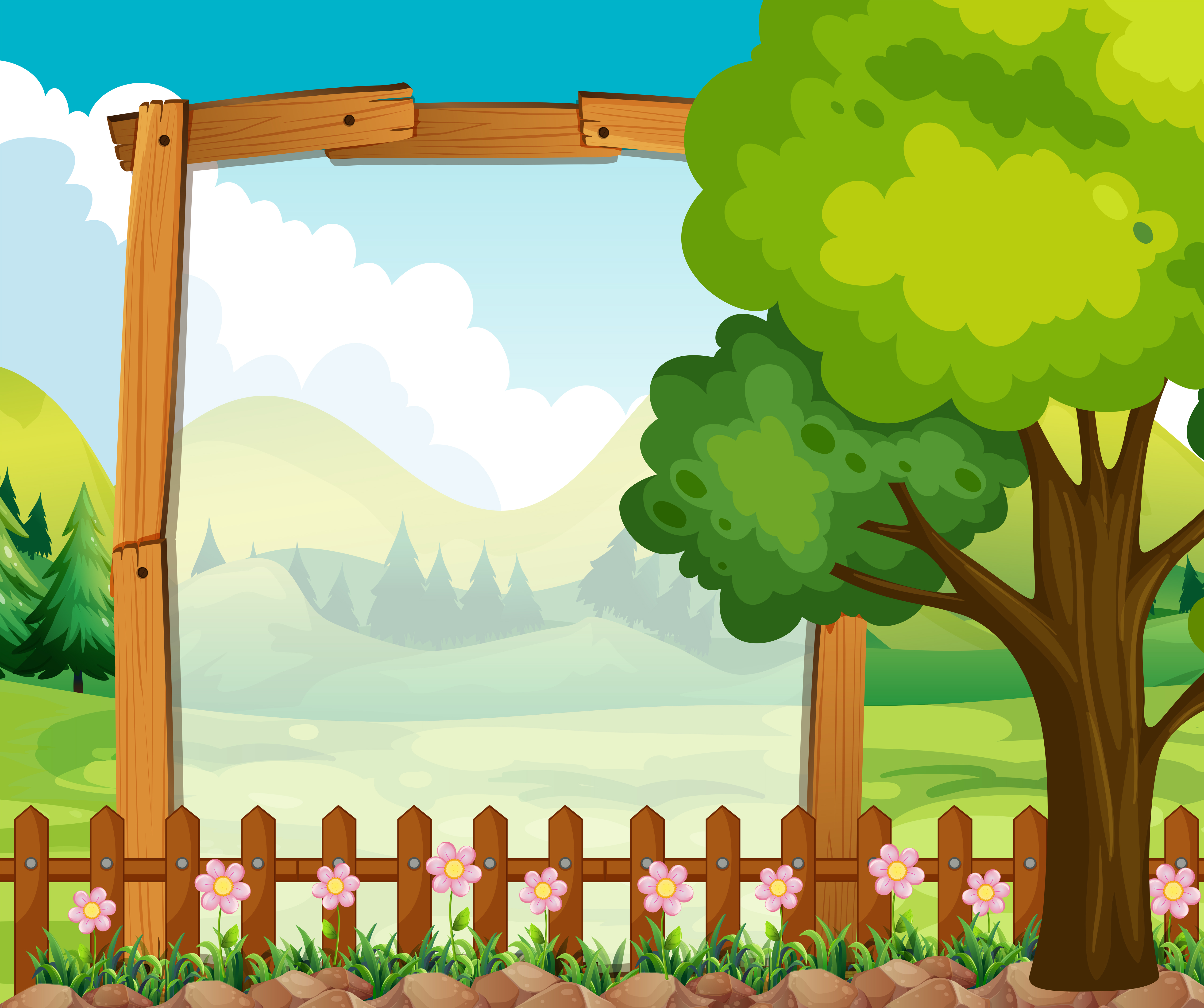Wooden Frame With Nature Background Download Free
