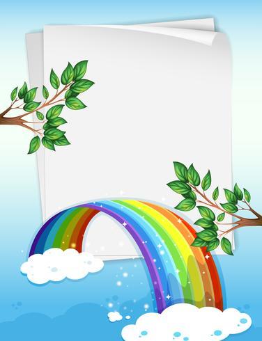 Papier avec arc-en-ciel et branches