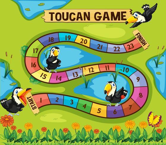 Modello di gioco da tavolo con gli uccelli Tucano nel parco