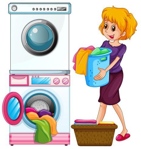 Mujer que hace el lavadero en el fondo blanco