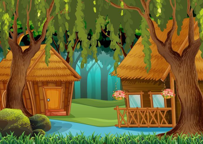 Holzhütten im Wald