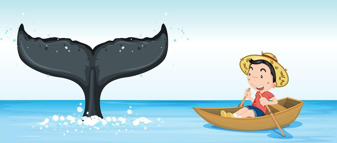 Cola de ballena jorobada en el océano