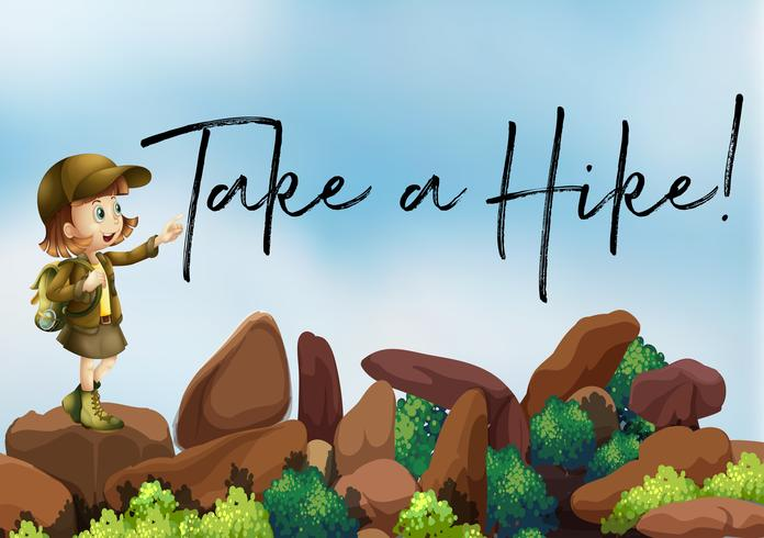 Girl hiking up the mountain with phrase take a hike