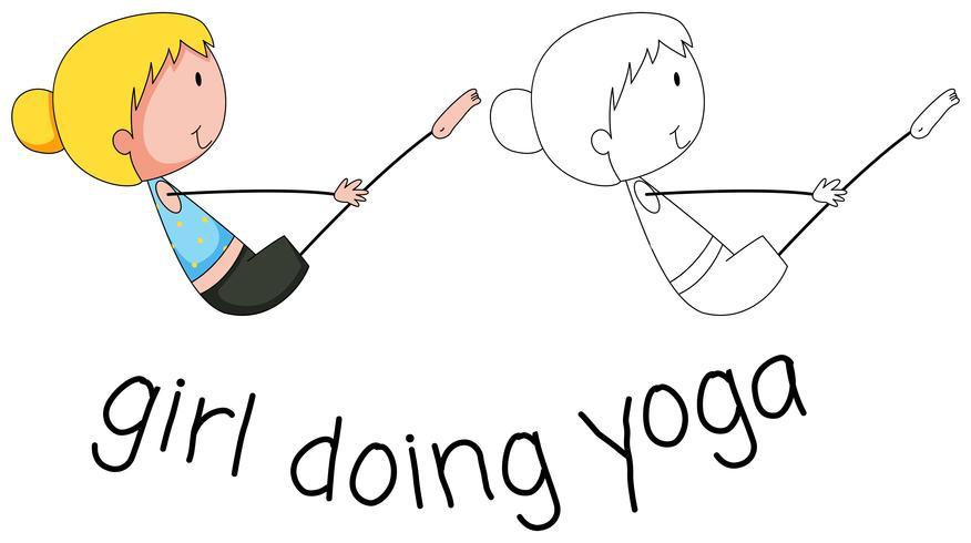 Mädchen, das Yogaentwurf tut