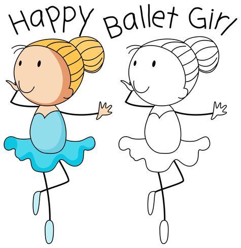 Doodle feliz niña baile