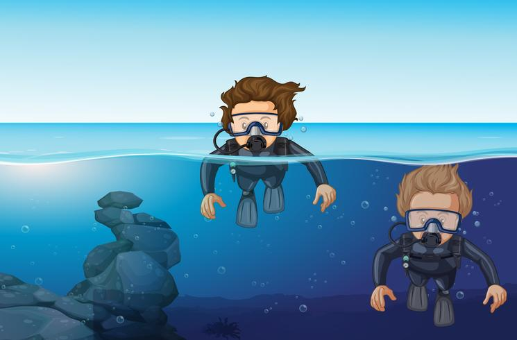 Dois homens, mergulhar oceano