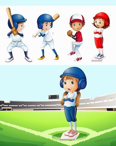 Barn som spelar baseball i fältet