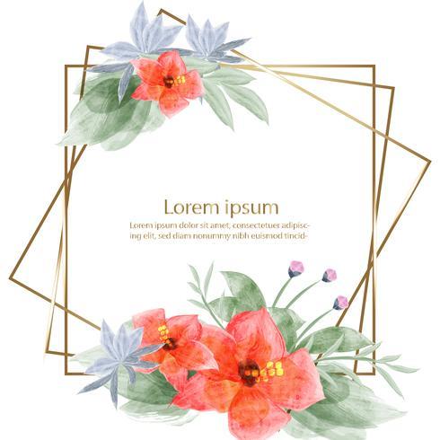 schöne Blütenblumen-Aquarellmalerei und Rahmen- oder Fahnenhintergrund