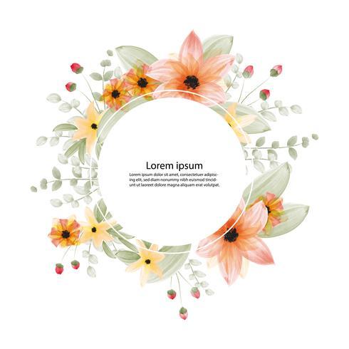 Flor hermosa flor acuarela pintura y marco o banner de fondo vector