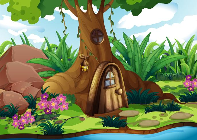 Uma casa na árvore na floresta
