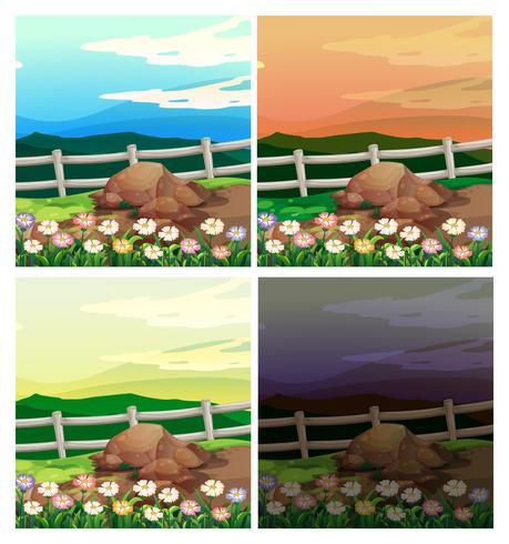 Escenas de campo con cuatro colores de cielo diferentes