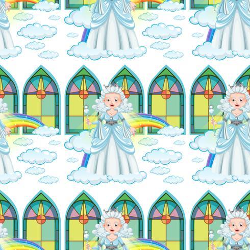 Regina senza soluzione di continuità sulle nuvole e arcobaleno
