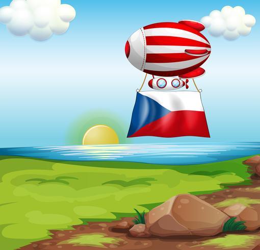 Ein schwebender Ballon mit der Flagge der Tschechischen Republik