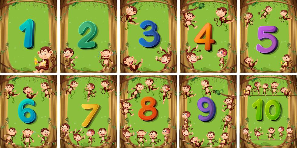 Número uno a diez en diferentes tarjetas