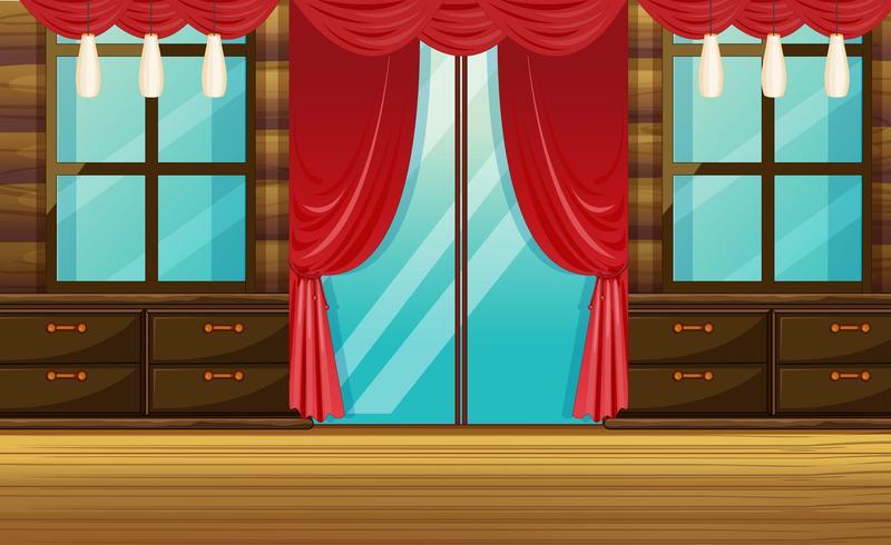 Chambre avec mobilier en bois et rideau rouge